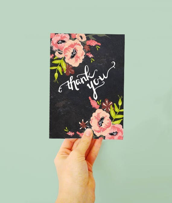 Floral Thank you card - Typography thank you - Pink Floral - Blank thank you card - floral card - jolly - bridesmaids - wedding thank you