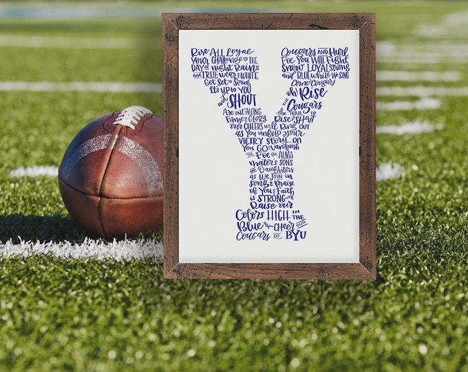 Cougar Fight Song  - Raise the Colors of BYU! A Hand-lettered Image