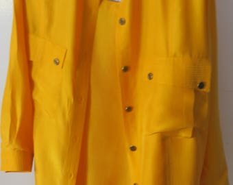 Saks Fifth Ave 2 Pc Golden Yellow 100% Silk Tanbk & Blouse TankL Blouse M