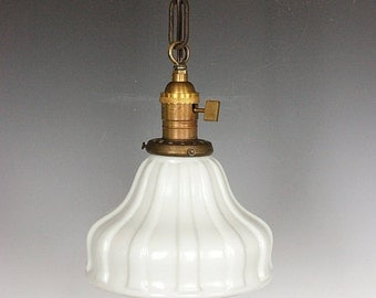 Free Shipping - Antique Glass Shade Pendant Light, Vintage Pendant Lighting, Restored Antique Lighting from Early 1900's, Made in the USA