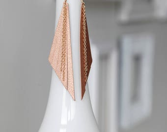 Long rose gold fringe leather earrings- long triangle earrings- bohemian shoulder earrings- bridal earrings- wedding jewelry