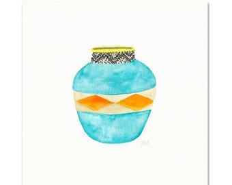 Watercolor Blue Basket. Teal Basket Illustration.  Wall Art.  Boho Decor.