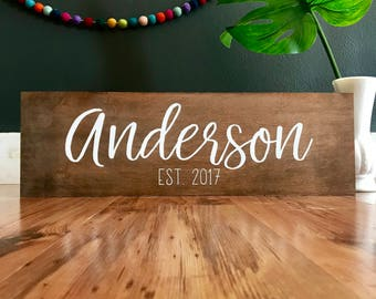 Personalized family sign. Family name sign. Established sign