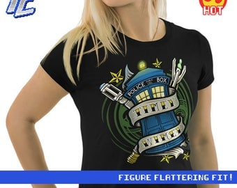 Womens : Doctor Who Shirt / Timelord Shirt / Tattoo Tee / The Doctor T-shirt / Timey Wimey Tee