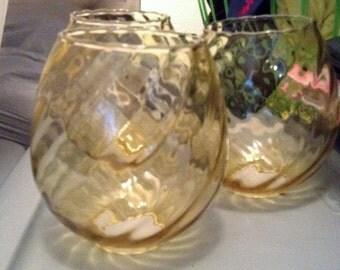 Lighting Globes Replacement Gold Spiral Crystal Set of Three Home Improvement Restoration Supply Yellow Orange Hurricane Lamp Hanging Lights