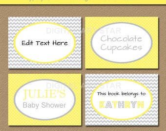 Yellow Gray Chevron Buffet Cards, Yellow Gray Wedding Labels, Tent Cards, Candy Buffet Labels, Dessert Table Labels, Dessert Food Cards BB1
