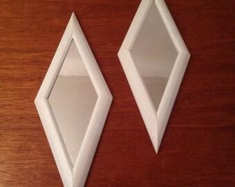 Pair Mid Century Modern Diamond Mirrors Plastic Frame Painted White Vintage Retro