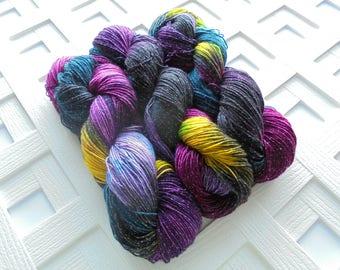 Hand-dyed STAINED GLASS Sparkly Sock Yarn, Merino Yarn, Indie-Dyed Yarn, Knitting Yarn, Variegated Yarn, Gift for Knitter, Weaving Yarn
