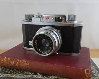 Vintage Halina 35x Camera,  1950's Empire Made, 35mm Film Camera, With Faux Leather Carry Case & Instruction Booklet