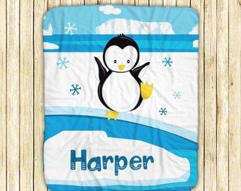 "Personalized Sherpa Blanket - Arctic Animal Winter Ice Snow Scene, Sherpa and Micro Mink Fabric, 50"" x 60"", Custom Design Throw Blanket"