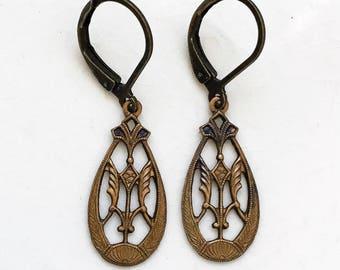 art nouveau style open work brass teardrop stampings vintage handmade pierced earrings