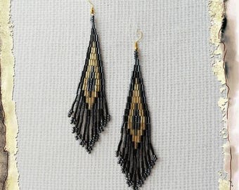 Seed Bead Earrings - Long Earrings - Boho Style Earrings, Beaded Earrings, Fringe Earrings, Black Earrings,  Christmas Jewellery