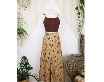 Boho vintage maxi dress, 90s-does-70s chocolate brown summer festival dress, Small 4198