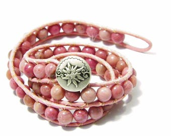 2X Wrap-Around Bracelet, Pink Rhodonite Gemstones Sewn Into Genuine Greek Leather. Special Made to Your Size - FREE SHIPPING in USA