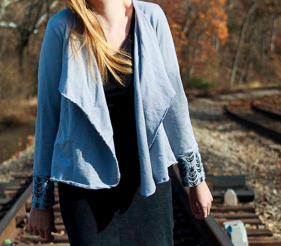 Bluegrass Shrug, Organic French Terry Cardigan, Screen Printed and Velvet Trimmed Shrug