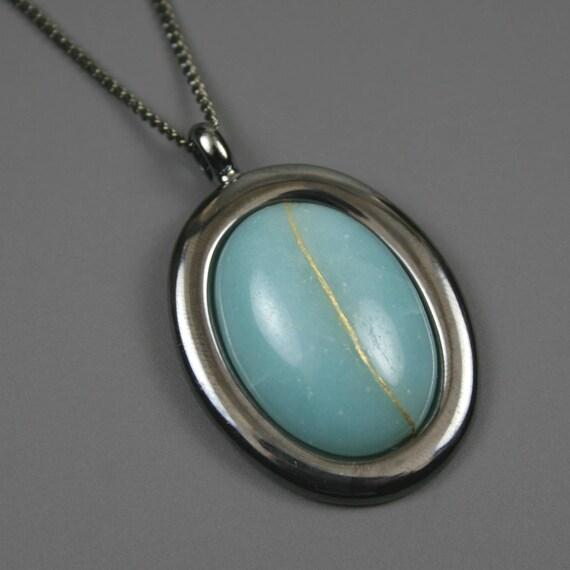 Kintsugi (kintsukuroi) amazonite oval stone cabochon pendant with gold repair in gunmetal setting on curb chain - OOAK