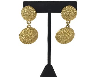 vintage 1980's gold rope earrings / dangle earrings / clip on earrings / vintage earrings / vintage jewelry / costume jewelry