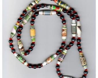 One-of-a-Kind Handmade Paper Bead Necklace with Ruby Red Bicones, Black Pony Bead