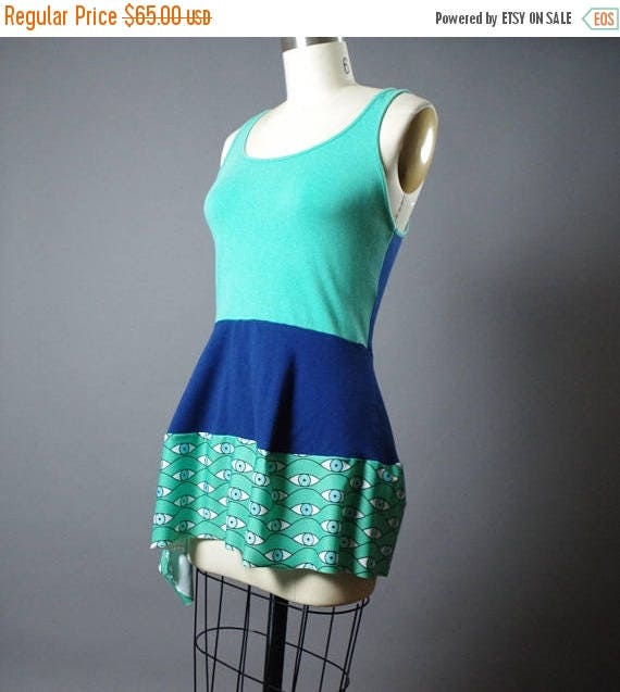 Eyes Top Tunic - Summer Top tunic - Patchwork summer top - funky - eyes