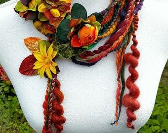 Long Skinny Scarf, Flower Scarf, Boho Scarf, Art Yarn Scarf, Autumn Scarf, Fringe Scarf, Hippie Scarf, Lariat Scarf, Eco Friendly Fashion