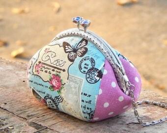 Kiss lock purse / Makeup purse chain handle