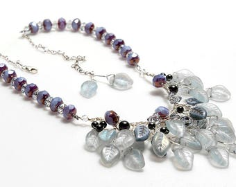 Blue Violet and Purple Bib Necklace  Lavender Purple Bridal Necklace, Wedding Jewelry, Vintage Style Jewelry, Nature Jewelry