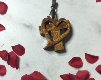 Kona wood Cross and Heart