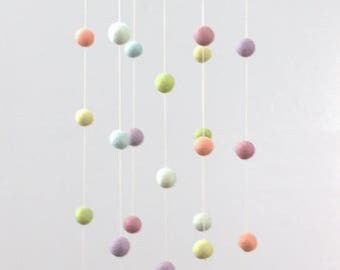 Pastel Rainbow Felt Nursery Mobile - Felt Pom Pom Balls