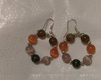 Cat-eye Brown/Orange/Beige silver hoops 6MM beads