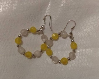 Yellow/White Silver Hoop Earrings