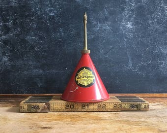 Vintage Valve Spout Oil Can Continental Arms Corp Red  Metal Oil Can