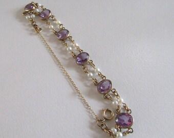 Gold Filled Amethyst Colored Glass and Faux Pearl Bracelet, Vintage Bracelet, Link Bracelet, Vintage Link Bracelet, Antique Link Bracelet