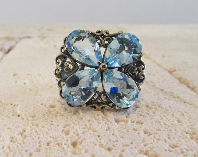 Sterling Silver Blue Topaz Ring, Blue Topaz Ring, Filigree Blue Topaz Ring, Silver Filigree Ring, Statement Ring, Sterling Statement Ring