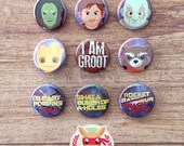 Guardians of the Galaxy buttons - pinback or magnets ||| Gamora Star Lord Drax Groot Rocket Racoon Yondu Mary Poppins Trash Panda Avengers