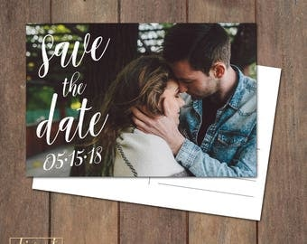 Photo Save the Date Postcard, Save Our Date Postcard, Handwriting Calligraphy Save the Date - PRINTABLE file - handwritten script - STD12