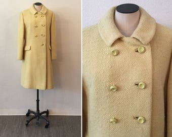 Bromleigh coat| Vintage Double Breasted Dress Coat | 1960's Yellow  Double Breasted wool winter Coat