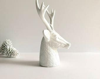 WHITE Faux Stag Statue Deer Head Bust animal statue for tabletop home decor Farm house decor White nursery Woodland decor White deer head