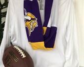 Minnesota Vikings T shirt Infinity Scarf with Purple logo - Female Viking Football Fan Gift - Gift under 25