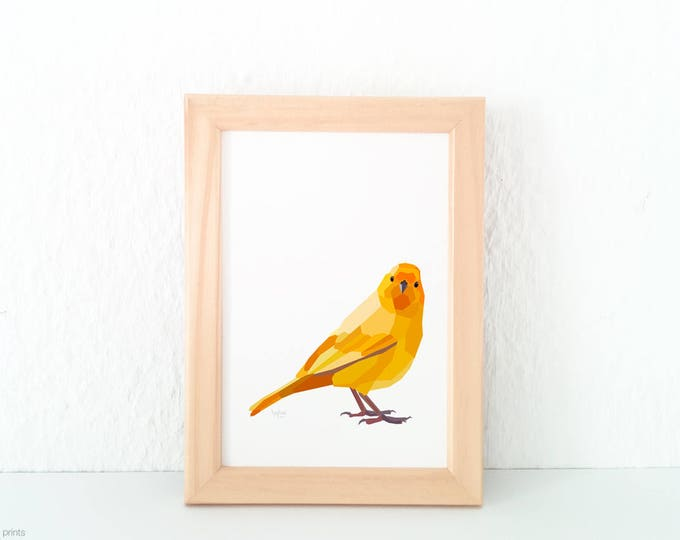 Yellow canary print, Canary illustration, Geometric print, Animal lover gift, Song bird art, Yellow print, Bird wall art, Bird lovers art