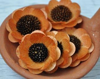 Wooden Flowers - 24 Pcs Burnt Orange Brown-Eyed Susan-  Floral Supplies - Wedding Flowers