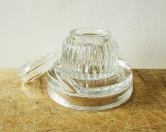 Vintage glass inkwell, 1950s, Collection, Desk Office, Bureau écolier, Antique home decor, Encrier en verre,