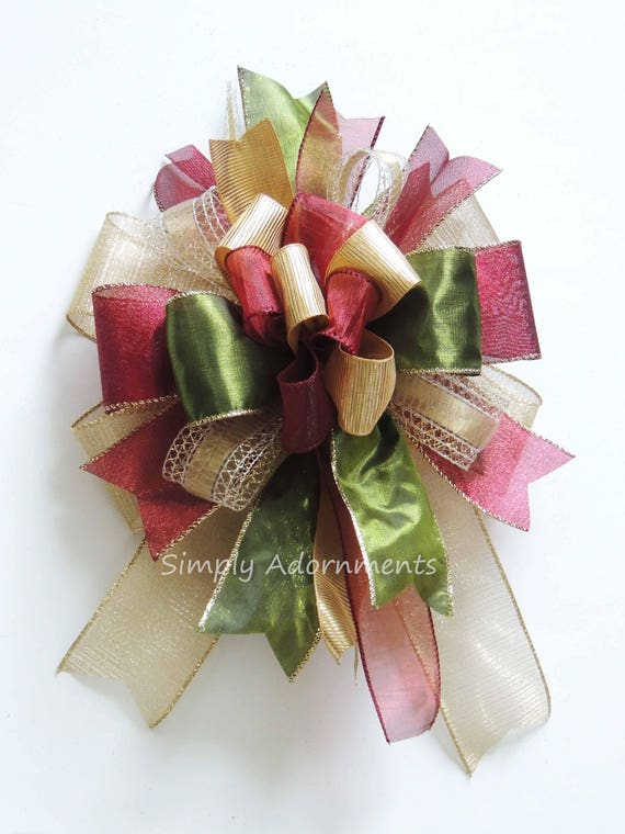 Whimsical Burgundy Gold Christmas Bow Funky Gold Burgundy Christmas Bow Christmas Lantern Bow Red Gold Green Tree Topper Bow Funky Gift Bow