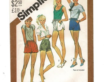 1980s Simplicity 5511 Misses Short Shorts Fly Front w/ Waistband; Pull on w/ Elastic Waist Womens Sewing Pattern Size 12 Waist 26-1/2, UNCUT
