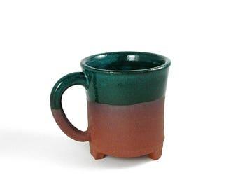 Ceramic mug, red stoneware, turquoise glaze, unique coffee mug, teacup, handmade mug, pottery mug, wheel thrown pottery