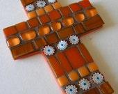 Orange Mosaic Cross, Gift for Communion, Teacher Gift, Hostess Gift, Christmas Ornament, Baby Shower Gift, Autumn Cross, Last Minute Gift