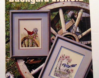 "Counted Cross stitch book ""Backyard Visitors"" Birds Art 1991"
