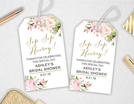 Free Printable Wedding Gift Tags Templates: Sip Sip Hooray Tags // INSTANT DOWNLOAD // EDITABLE