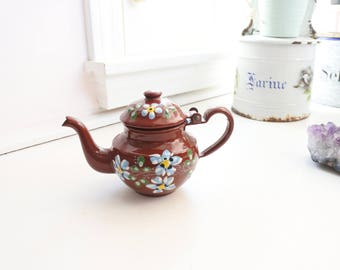 Antique French Enamelware Teapot, Brown with blue flowers, Hand-painted, Signed, Small, Lid, Valentines Gift, Sweetheart Gift,
