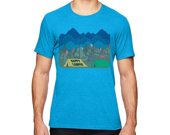 Camping Shirt | Happy Camper Men's Tshirt | Hiking t-shirt | Graphic Tee | Mountains shirt | Tent Camping | gift for him | Trees