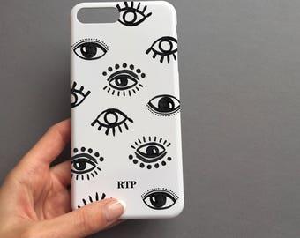 Evil Eye monogram phone case - iphone 8 plus case, iPhone X case, iPhone SE case, monogram phone case, samsung galaxy s8 case, samsung s8
